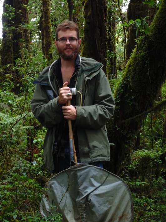 "Michael ""Andrew"" Jansen collects weevils during field work in the cloud forests of Guatemala"
