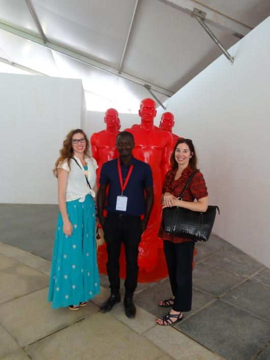 Joanna Grabski and Forrest Solis with sculptor Diadji Diop