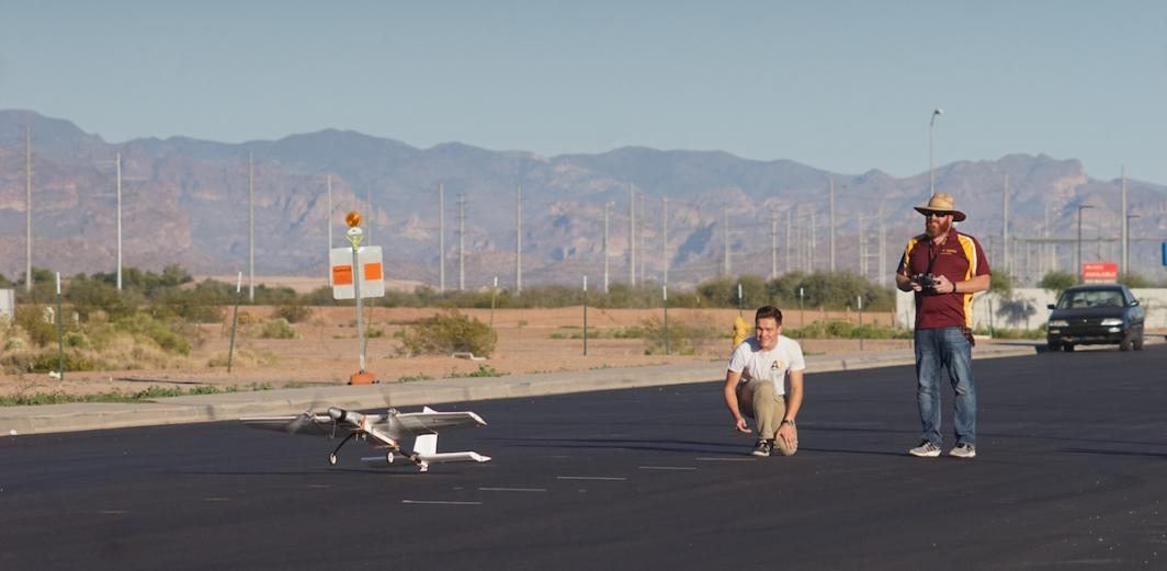 Nick Kolesov and Don Wood take the aircraft on a test flight near the ASU Polytechnic campus.