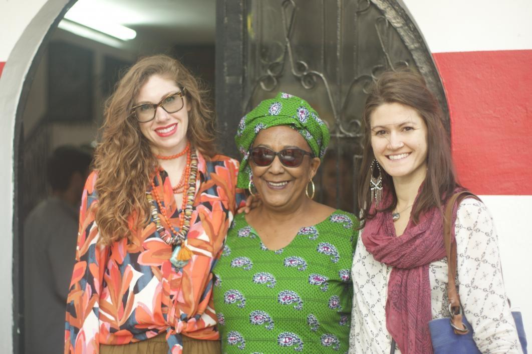 School of Art Associate Director Forrest Solis and School of Art alumna Ashley Czajkowski with Professor Wendy Wilson Fall