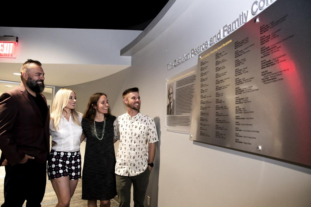 Zebulon Pearce's great granddaughters Megan Alfonso (left) and Jessica Pearce (right) attended the unveiling ceremony with their husbands, Sean Alfonso and Shane Melde.