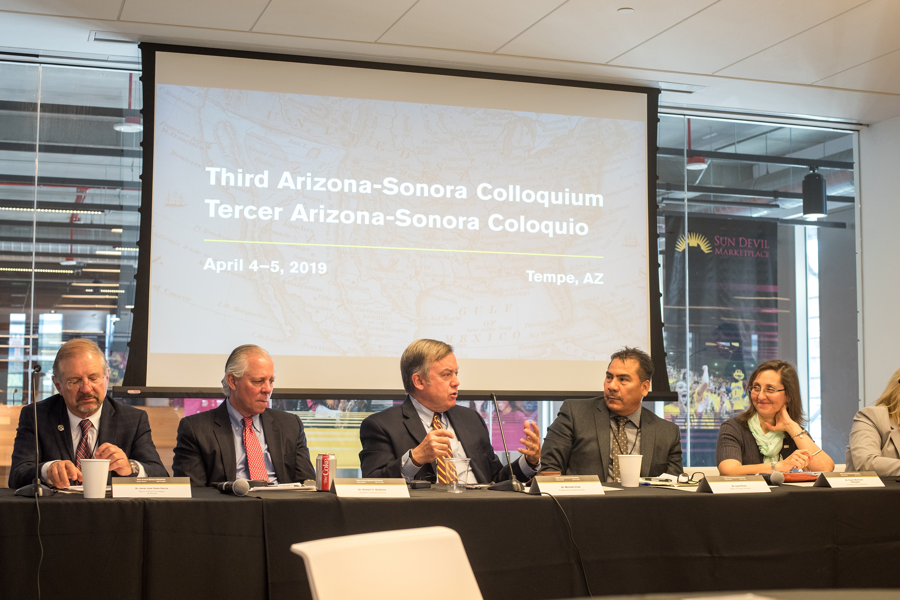 ASU President Michael Crow speaks about research collaboration and knowledge exchange between Arizona and Sonoran institutions during the third Arizona-Sonora Colloquium this month.