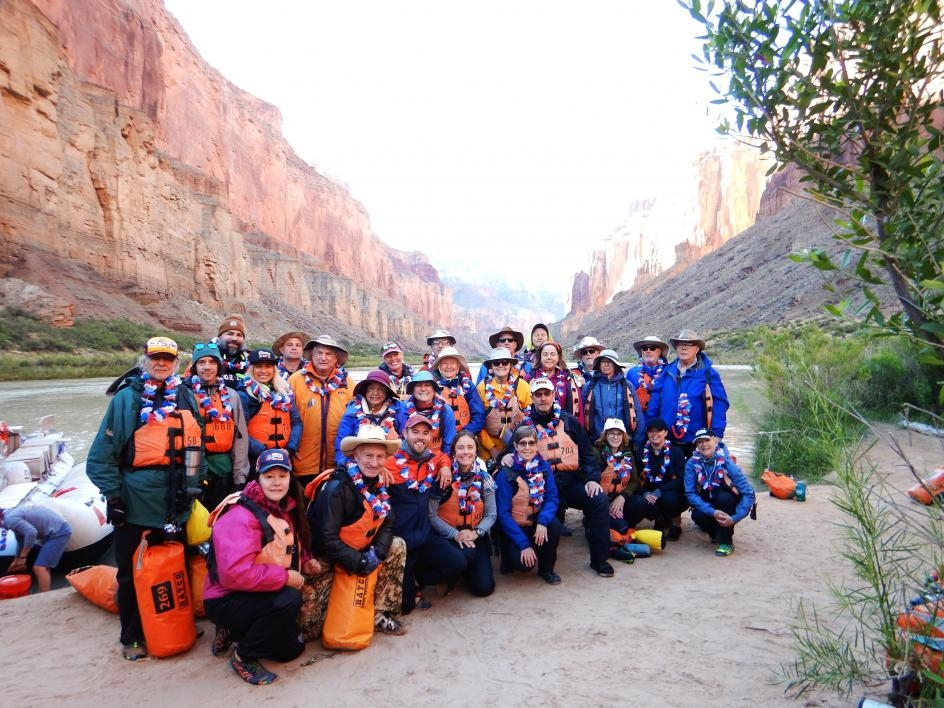 A group shot of the passengers, professors and facilitators of the Institute of Human Origins' Colorado River trip last May.