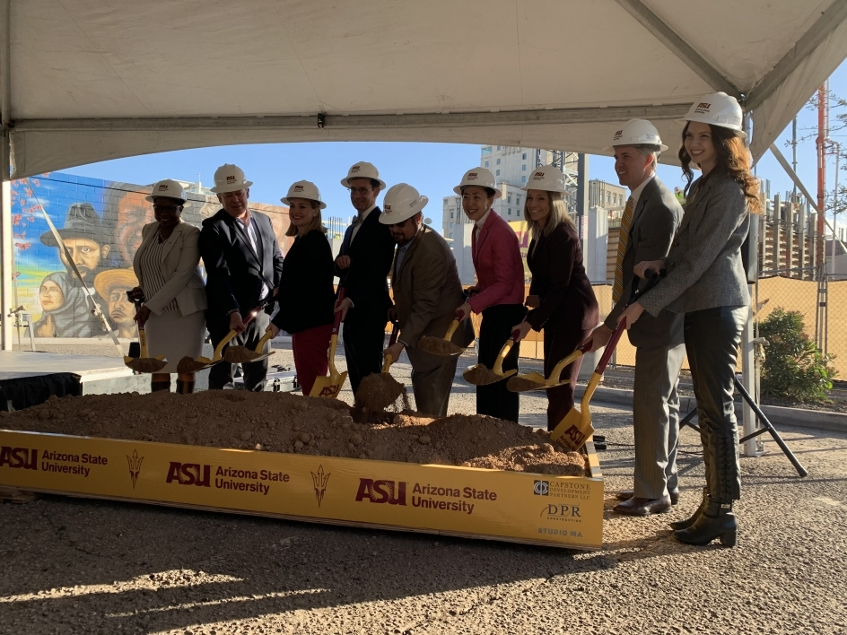 A group photo with shovels at a ground breaking