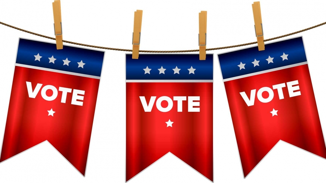 An illustration of banners that say Vote