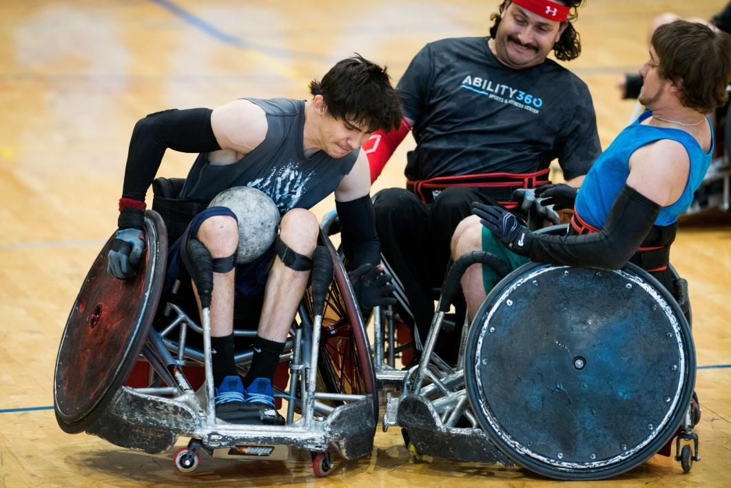 Wheelchair rugby players.