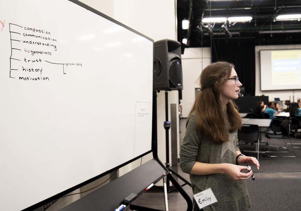 Emily Karlzen, a senior studying entrepreneurial and small business operation at ASU, brainstorms ideas around Project Humanities' core values at Hacks for Humanity 2019.