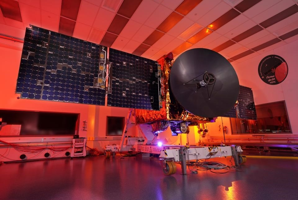 the Emirates Mars Mission Hope spacecraft with fully deployed solar panels and instruments visible