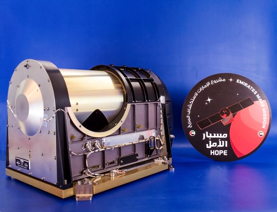 image of the Emirates Mars Infrared Spectrometer, a tool that will be used to examine temperature profiles, ice, water vapor and dust in the atmosphere of Mars
