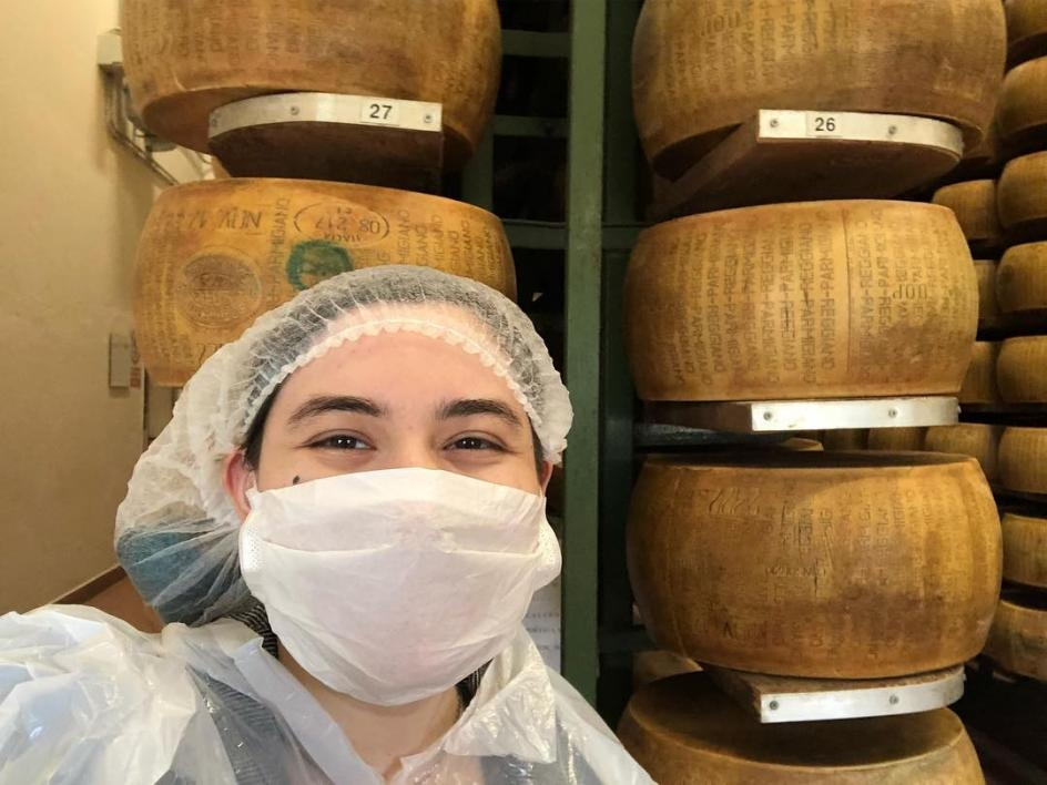 Erin Bottino in a Parmigiano factory in Parma / Courtesy photo