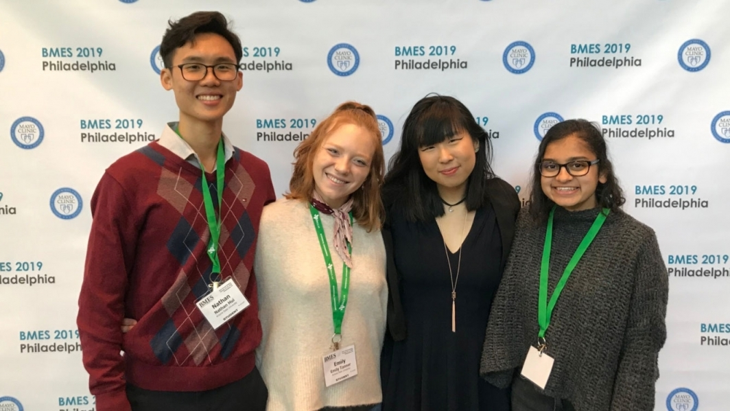 Grand Challenges Scholar Esther Sim (second from right) poses with her teammates at the Biomedical Engineering Society Medtronic Design Competition.