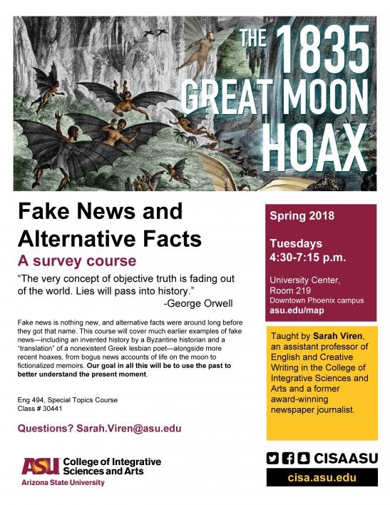 flyer for ENG494: Fake News and Alternative Facts