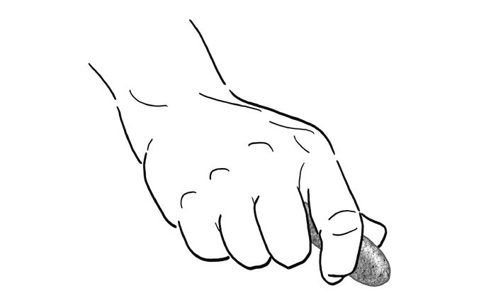 Artist's rendering of stone tool in use