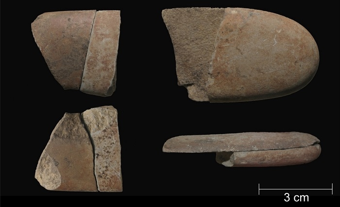 Photo of refitted stone fragments