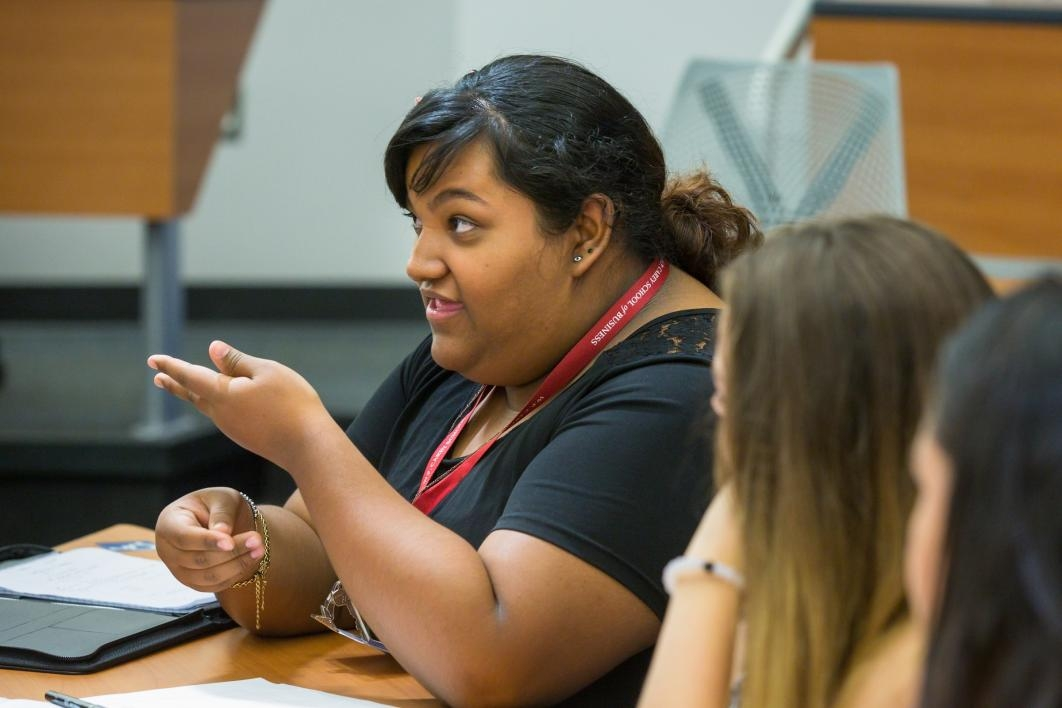 A student talks during a leadership workshop at the Fleischer Scholars Program