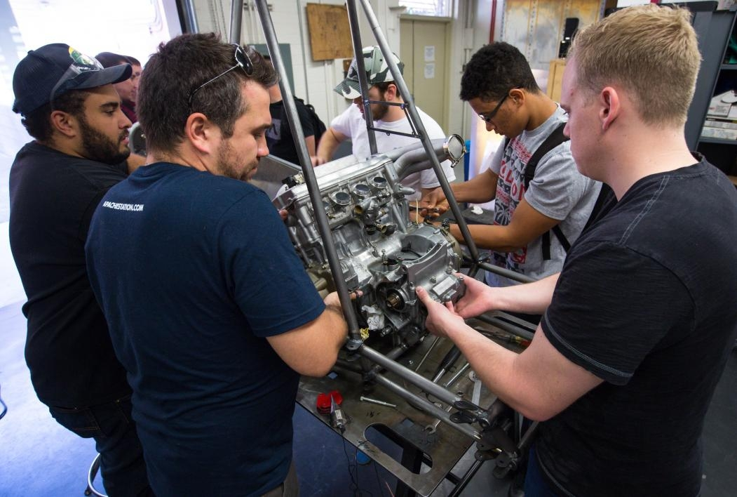 Student works on a race car.