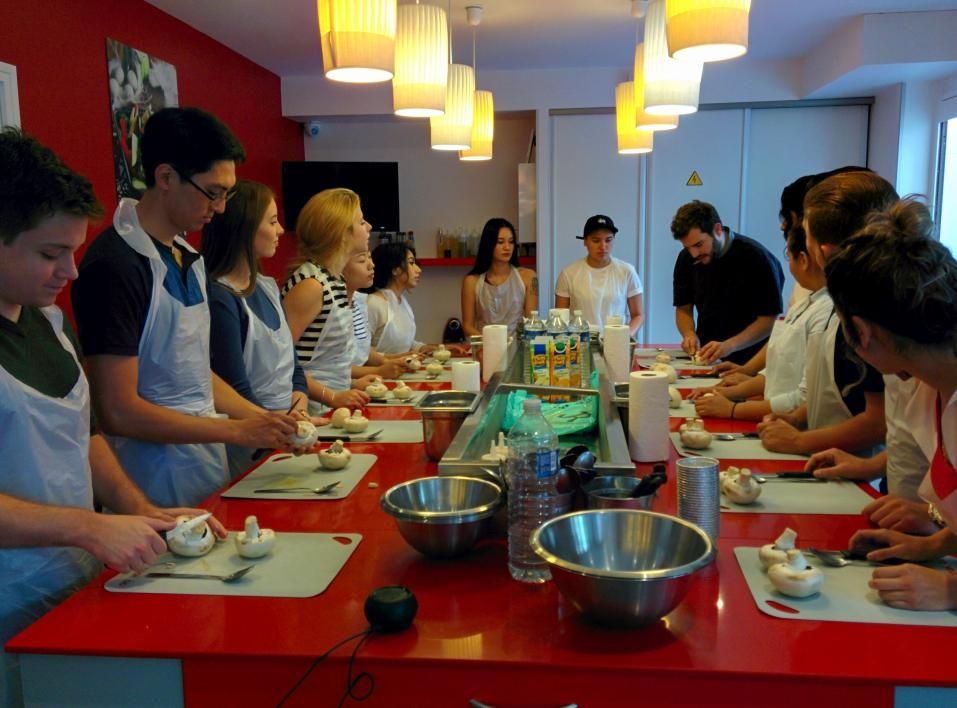 students in French cooking class