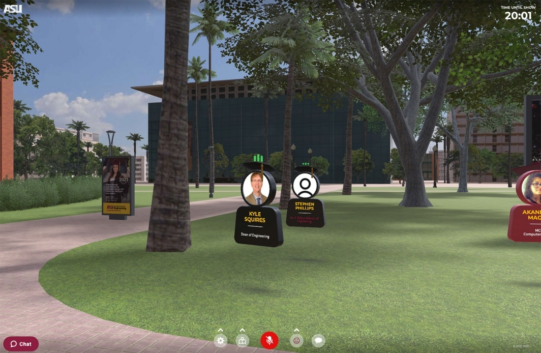 A screenshot of a 3D virtual environment with avatars on the lawn in front of ASU Old Main