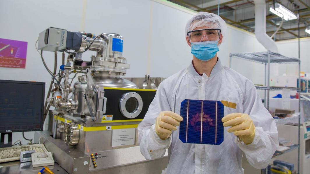 Lyle Bliss works in ASU's Solar Power Lab.