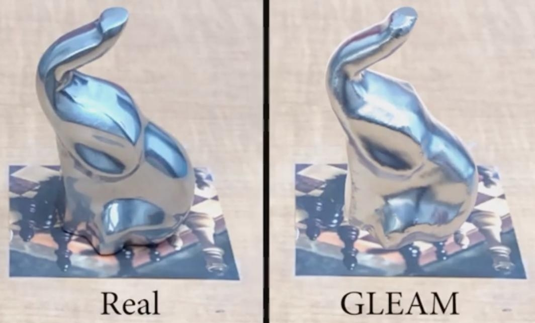 Elephant figurines in real and augmented reality images