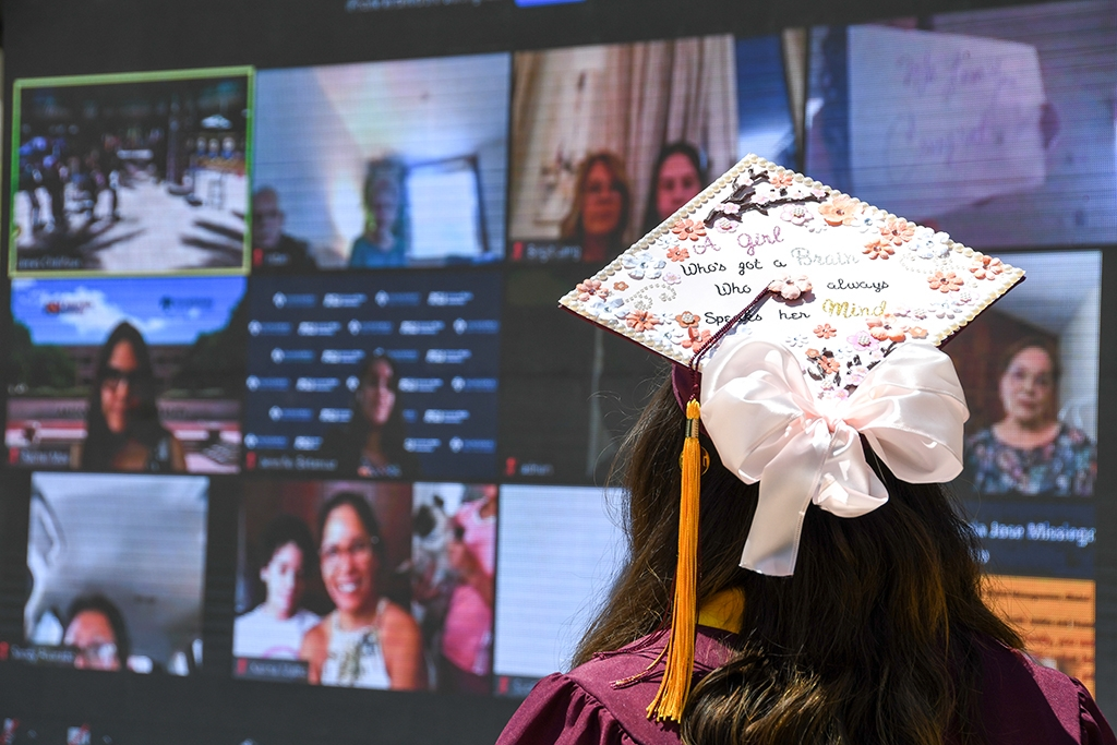 Grads were able to engage with family and friends virtually while celebrating with their classmates in person