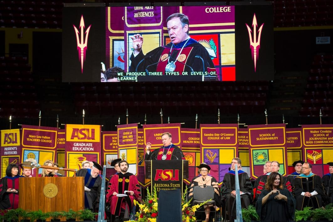 President Crow speaks at Graduate Commencement