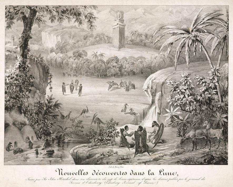 lithograph depicting scenes described in the Great Moon Hoax