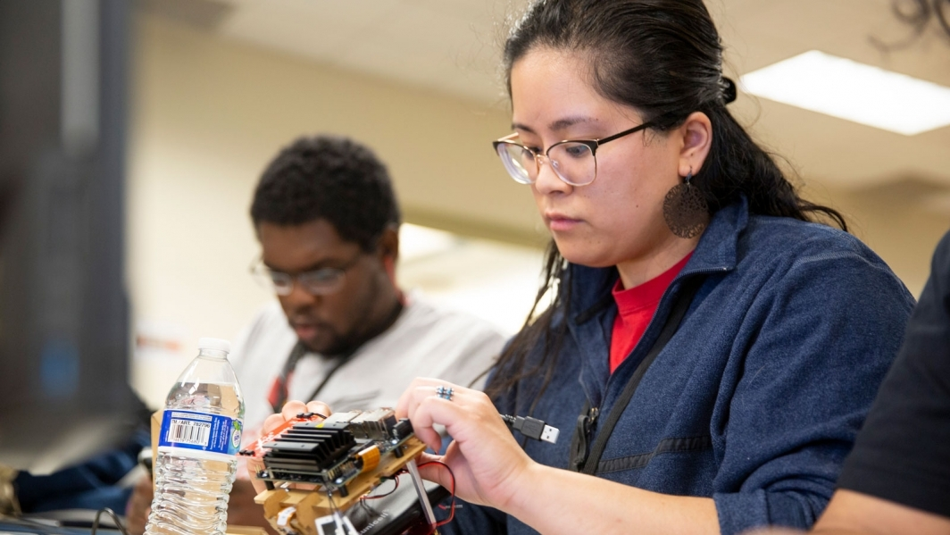 Students working on a robot