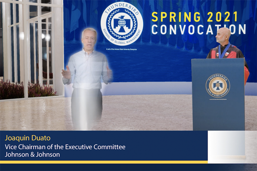 screenshot of Thunderbird virtual graduation with speaker appearing as a hologram