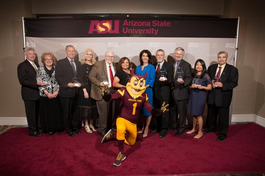 Founders Day honorees with Sparky