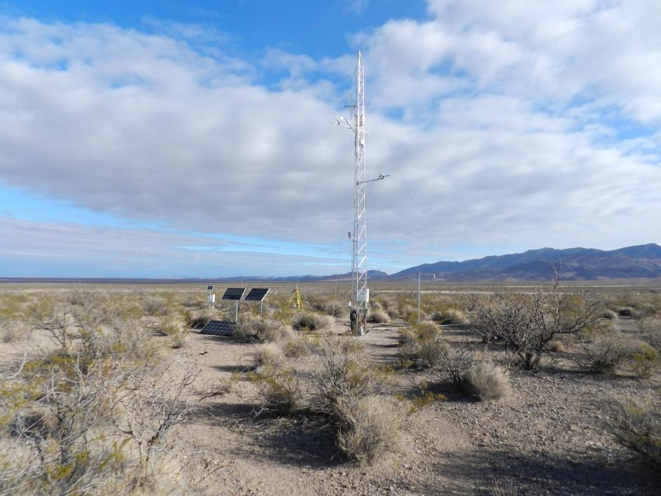 The eddy covariance tower that measures evapotranspiration, Chihuahuan Desert, New Mexico.
