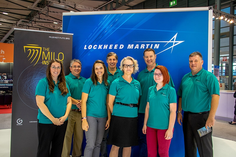 The MILO Institute team poses for a photo. The caption reads: The MILO team after a reception at the International Aeronautical Conference in Bremen, Germany. Photo by Antonio Stark