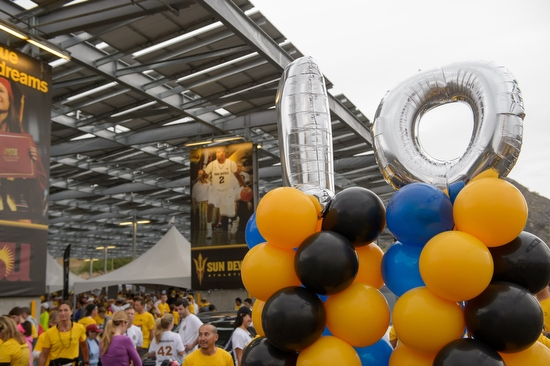 balloons decorate Sun Devil Stadium's parking lot