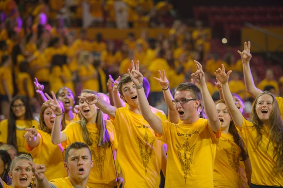 crowd of ASU students flashing pitchforks