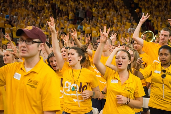 students cheering during Sun Devil Welcome