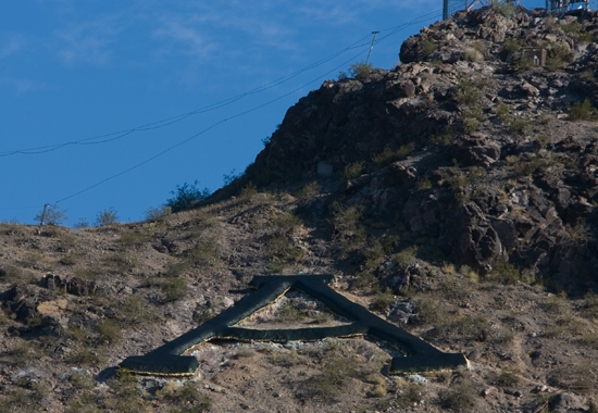 A on Tempe Butte painted black