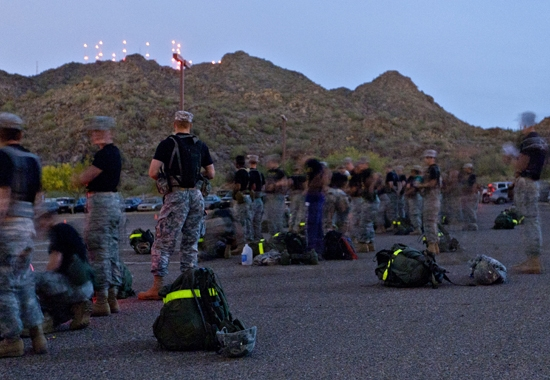 ROTC students preparing for hike