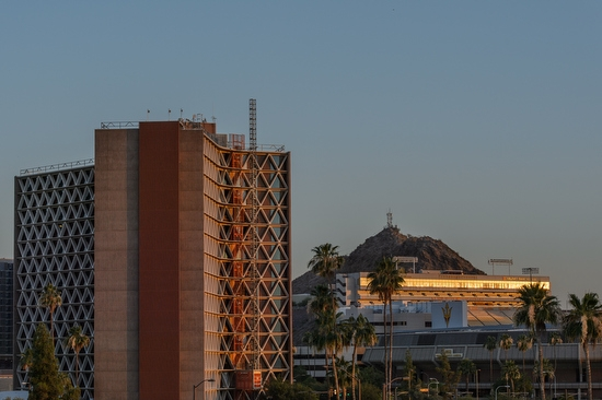 view of Manzanita Hall and A Mountain during sunrise