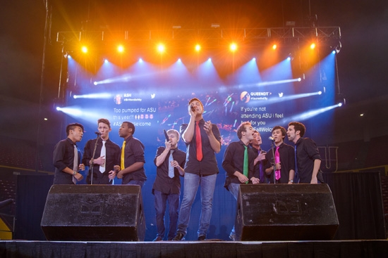 a capella group performing on stage