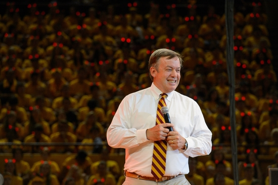 ASU President Michael Crow speaking on stage during Sun Devil Welcome