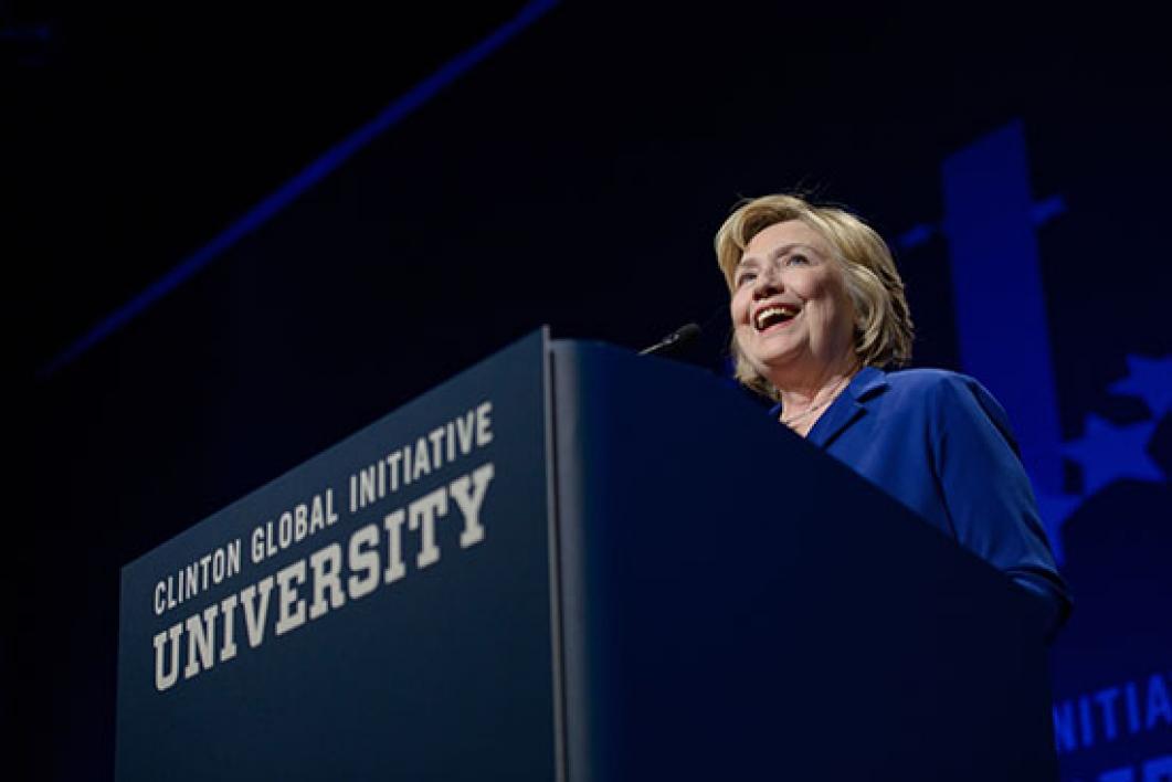 Hilary Clinton speaking at CGI U at ASU