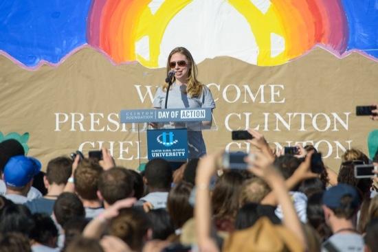 Chelsea Clinton speaks on stage at CGI U