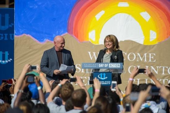 Gabrielle Giffords and husband Mark Kelly speak at CGI U