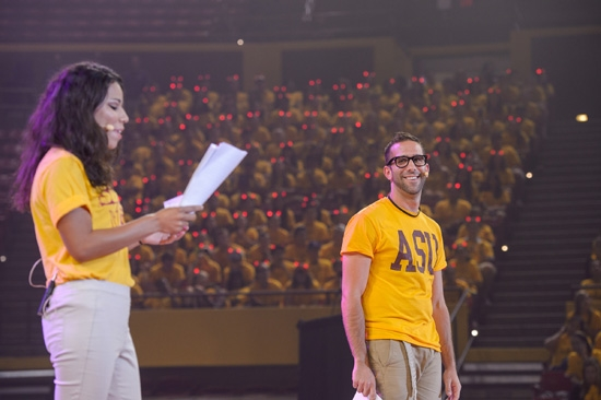 student MCs on stage during ASU's Sun Devil Welcome event