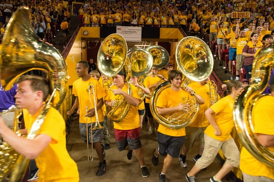 band running out of tunnel in Wells Fargo Arena