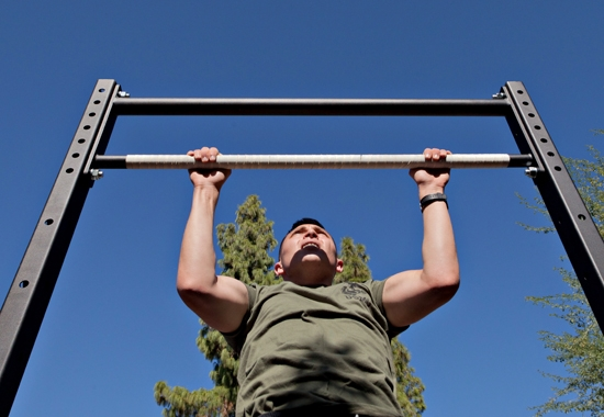 Marine doing pullups