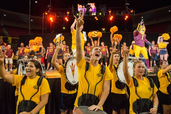 marching band students cheering during Sun Devil Welcome
