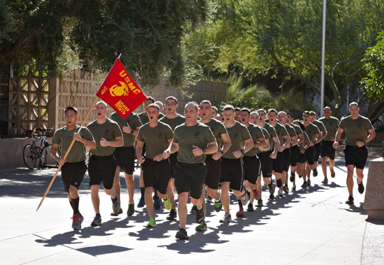 Marines running on the Tempe campus