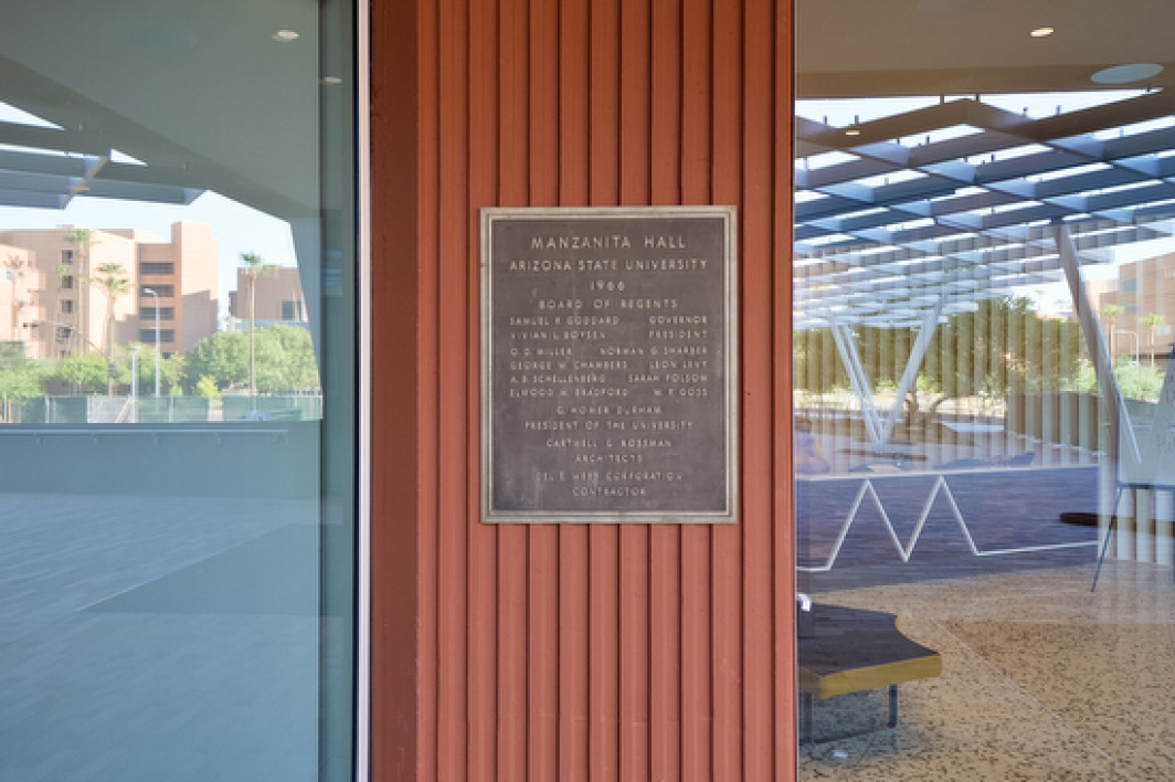 original Manzanita Hall plaque