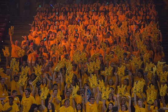 sea of ASU New College students holding foam fingers